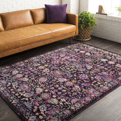 Walferdange Violet Area Rug Rug Size: Rectangle 93 x 121