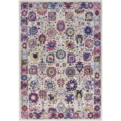 Walferdange Floral Bright Pink/Blue Area Rug Rug Size: Rectangle 311 x 57