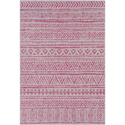 Fonwhary Global Bright Pink/Light Pink Indoor/Outdoor Area Rug Rug Size: Rectangle 710 x 103