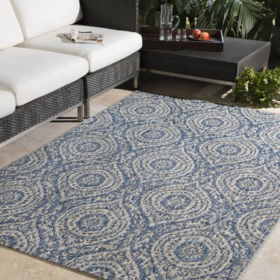 Fonwhary Floral and Plants Denim Indoor/Outdoor Area Rug Rug Size: Rectangle 7'10