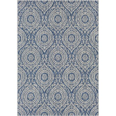 Fonwhary Floral and Plants Denim Indoor/Outdoor Area Rug Rug Size: Rectangle 53 x 76
