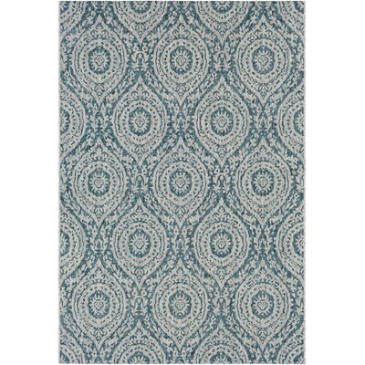 Fonwhary Classic Floral and Plants Aqua Indoor/Outdoor Area Rug Rug Size: 53 x 76
