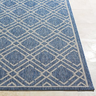 Fonwhary Navy Indoor/Outdoor Area Rug Rug Size: 53 x 76