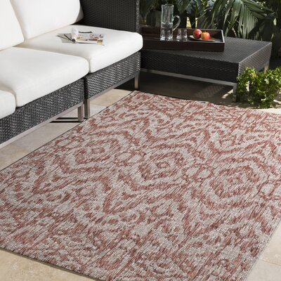 Fonwhary Burnt Orange Indoor/Outdoor Area Rug Rug Size: 53 x 76