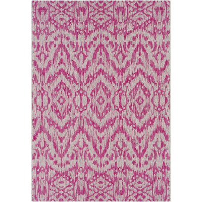 Fonwhary Abstract Bright Pink Indoor/Outdoor Area Rug Rug Size: Rectangle 53 x 76