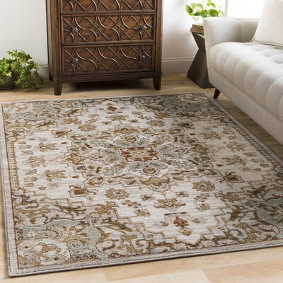 Lenora Classic Floral and Plants Light Gray Indoor/Outdoor Area Rug Rug Size: Rectangle 67 x 96