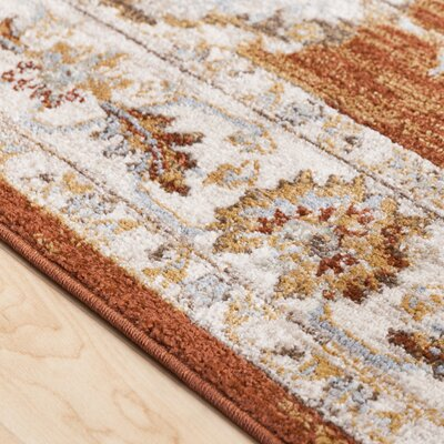 Lenora Burnt Orange Area Rug Rug Size: 2 x 3
