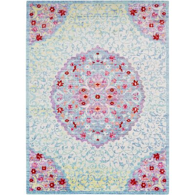 Lyngby-Taarb�k Classic Aqua/Dark Red Area Rug Rug Size: Rectangle 311 x 511