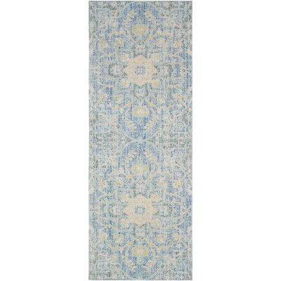 Lyngby-Taarb�k Aqua/Bright Yellow Area Rug Rug Size: Runner 3 x 71