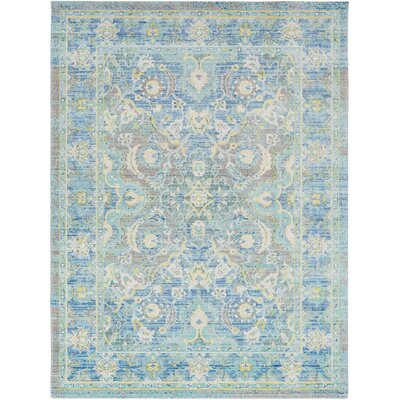 Lyngby-Taarb�k Floral and Plants Aqua Area Rug Rug Size: Rectangle 53 x 73