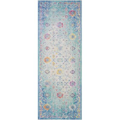 Lyngby-Taarb�k Classic Floral and Plants Aqua Area Rug Rug Size: Runner 3 x 71