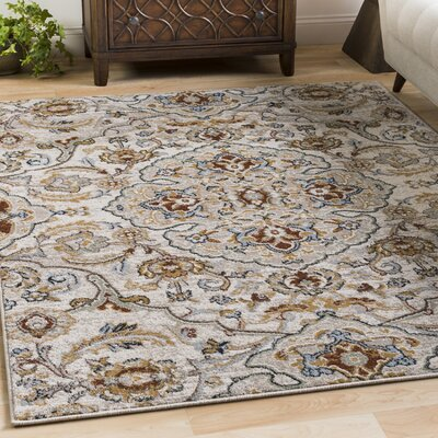Lenora Floral and Plants Light Gray Indoor/Outdoor Area Rug Rug Size: 67 x 96
