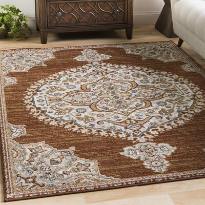 Lenora Burnt Orange Area Rug Rug Size: 53 x 73