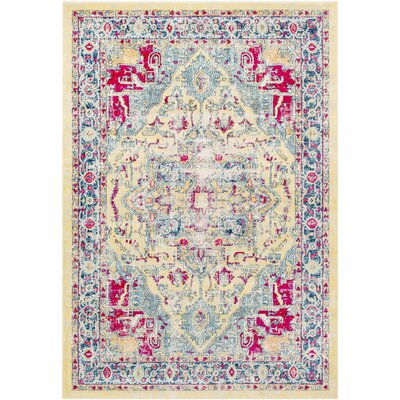 De Funiak Springs Transitional Distressed Bright Yellow/Aqua Area Rug Rug Size: Rectangle 710 x 103