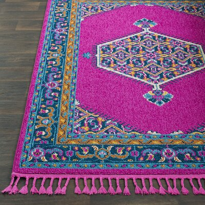 Kaliska Bright Pink/Navy Area Rug