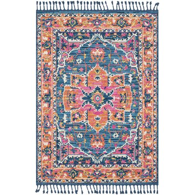 Kaliska Vintage Floral Teal/Orange Area Rug