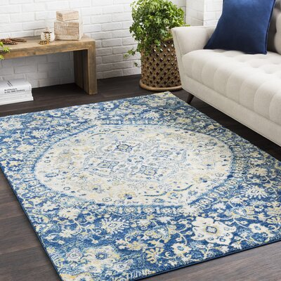 Downs Vintage Persian Medalion Oriental Blue/Cream Area Rug Rug Size: 27 x 73