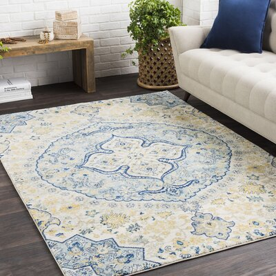 Andover Floral Dark Blue/Cream Area Rug