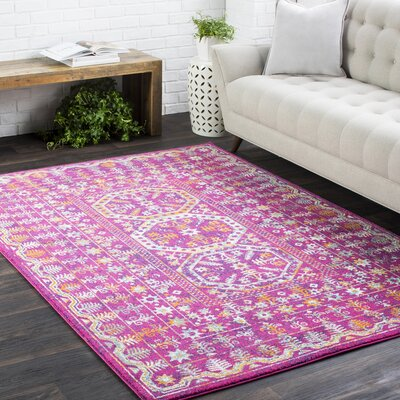 Arteaga Traditional Vintage Pink Area Rug Rug Size: 27 x 73, Color: Dark Blue