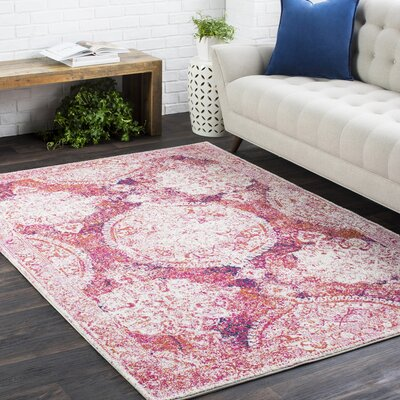 Downs Distressed Medallion Vintage Pink Area Rug Rug Size: 27 x 73