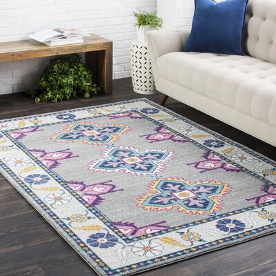 Downs Persian Inspired Gray/Blue Area Rug Rug Size: 27 x 73