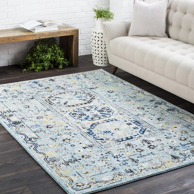 Andover Vintage Floral Distressed Teal Area Rug