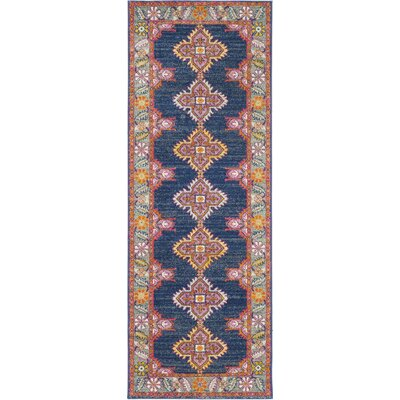 Arteaga Persian Inspired Navy/Pink Area Rug Rug Size: 27 x 73