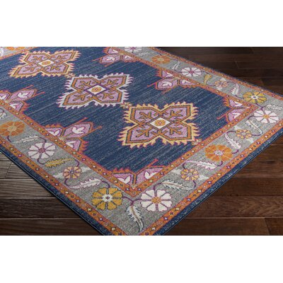 Arteaga Persian Inspired Navy/Pink Area Rug Rug Size: Rectangle 53 x 73