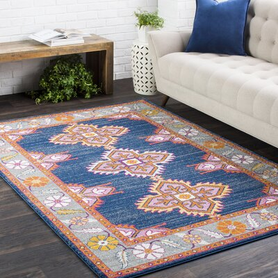 Downs Persian Inspired Navy/Pink Area Rug Rug Size: 2'7