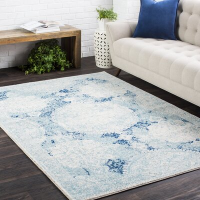 Arteaga Distressed Vintage Medallion White/Blue Area Rug Rug Size: 27 x 73