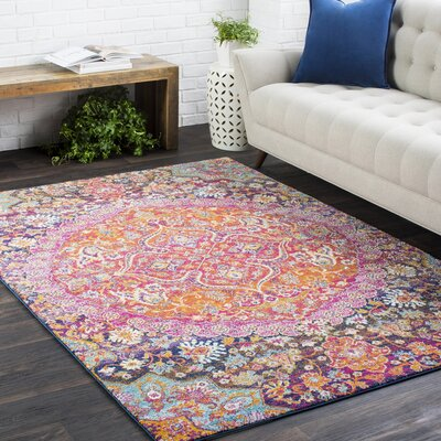 Downs Vintage Persian Medallion Oriental Pink/Orange Area Rug Rug Size: 27 x 73