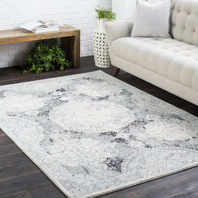 Arteaga Distressed Vintage Medallion Gray/White Area Rug Rug Size: 27 x 73