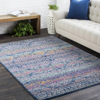 Downs Persian Traditional Oriental Blue/Purple Area Rug Rug Size: 27 x 73