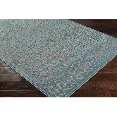 Markita Teal/Gray Area Rug Rug Size: Rectangle 4 x 57