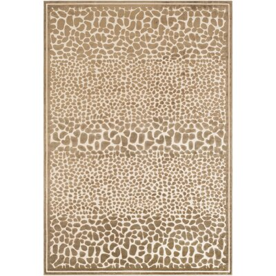 Markita Modern Butter/Taupe Area Rug Rug Size: 52 x 76