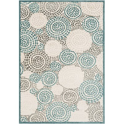 Bressler Spiral Teal/Beige Area Rug Rug Size: Rectangle 52 x 76