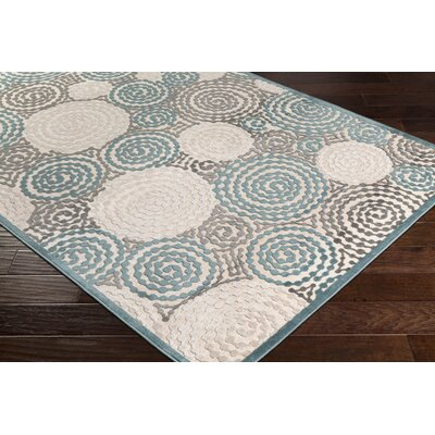 Bressler Spiral Teal/Beige Area Rug Rug Size: Rectangle 4 x 57