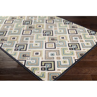 Ungar Modern Geometric Beige/Teal Area Rug Rug Size: Rectangle 76 x 106