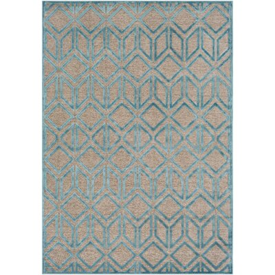 Pospisil Modern Geometric Taupe/Teal Area Rug Rug Size: Rectangle 52 x 76