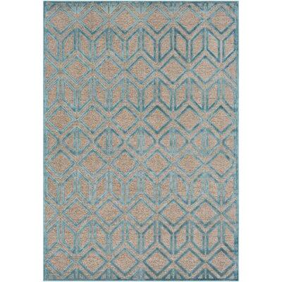 Pospisil Modern Geometric Taupe/Teal Area Rug Rug Size: 52 x 76