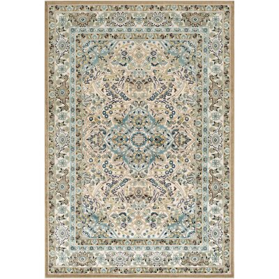 Sonnet Floral Teal/Beige Area Rug Rug Size: Rectangle 52 x 76