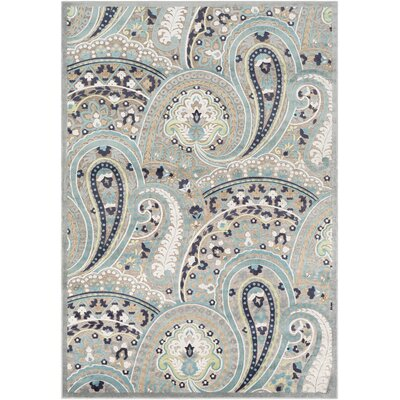 Hester Paisley Teal/Taupe Area Rug Rug Size: Rectangle 76 x 106