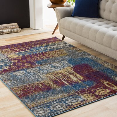 Winters Abstract Dark Blue/Dark Purple Area Rug Rug Size: Rectangle 6'7