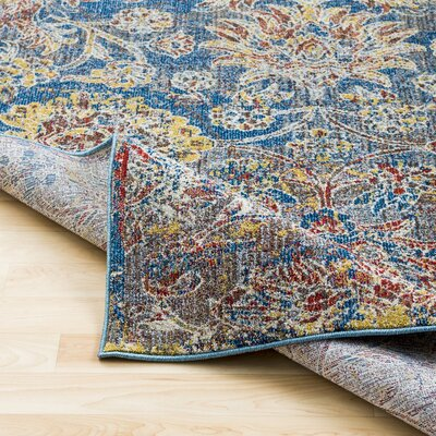 Roan Floral Blue/Gray Area Rug
