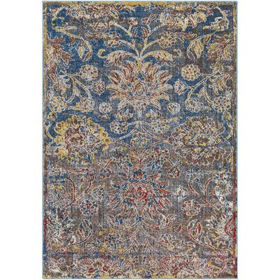 Winslow Floral Dark Blue Area Rug Rug Size: Rectangle 5'3