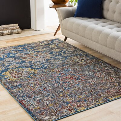Winslow Floral Dark Blue Area Rug Rug Size: Rectangle 93 x 123