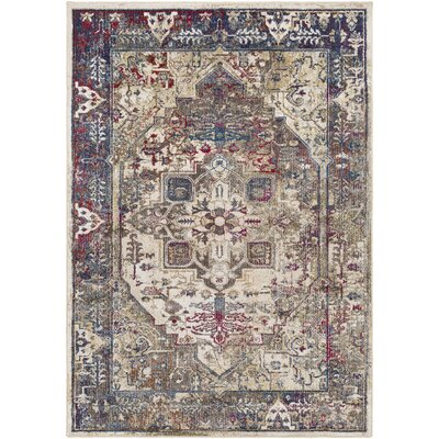 Manteca Traditional Dark Blue/Dark Brown Area Rug Rug Size: Rectangle 53 x 73