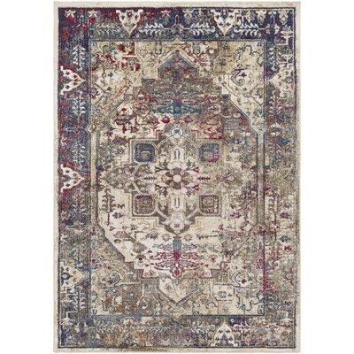Manteca Traditional Dark Blue/Dark Brown Area Rug Rug Size: 53 x 73