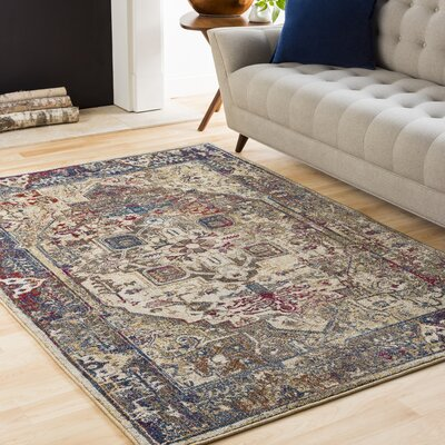 Manteca Traditional Dark Blue/Dark Brown Area Rug Rug Size: 67 x 96