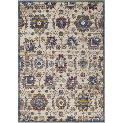 Alton Traditional Floral Sky Blue/Khaki Area Rug Rug Size: Rectangle 53 x 73